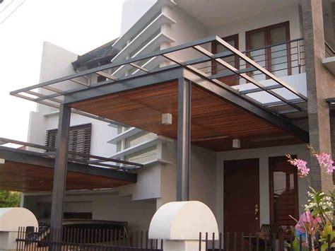 model kanopi kayu minimalis eksterior rumah