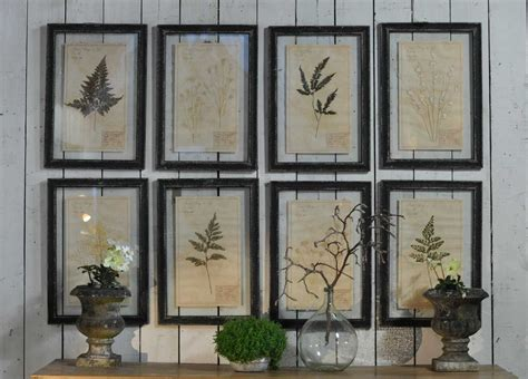 white coffe tables framed pressed botanical artwork home barn vintage