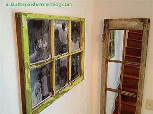 Old window new picture frame wall art diy the pink