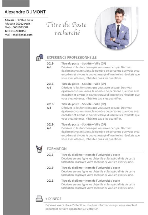 Exemplaire De Cv En Francais Gratuit by Cv Commercial Cv Commercial Exemple Cv Et