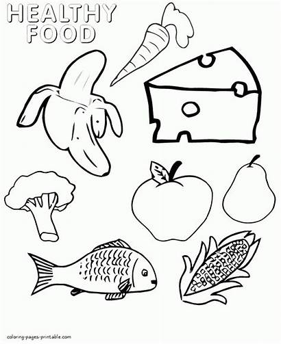 Coloring Healthy Pages Foods Printable Picnic Children