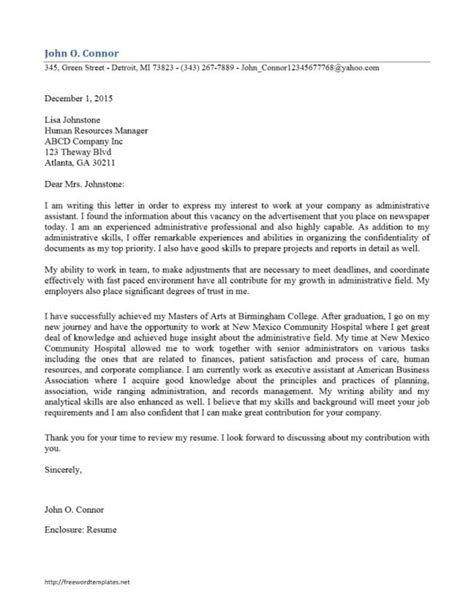 Administrative Assistant Cover Letter Sle by Administrative Assistant Cover Letter Template Business