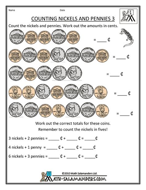 counting nickels worksheets counting worksheet