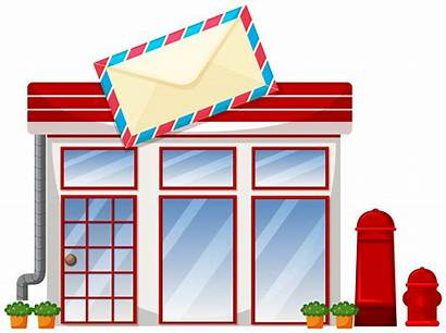 Office Clipart Exterior Clip Vector Postoffice Drawing