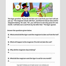 Read Comprehension Tiger And Magician And Answer The Questions Worksheet  Turtle Diary