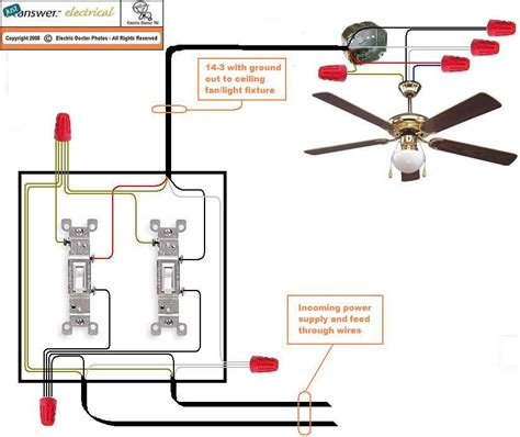 ceiling fan switch wiring diagram wiring a ceiling fan with two switches