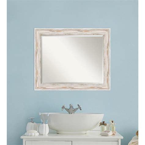 White Wood Bathroom Mirror by Amanti Alexandria White Wash Wood 33 In W X 27 In H