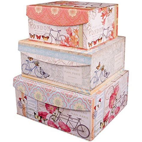 decorative nested flip top storage boxes nested set