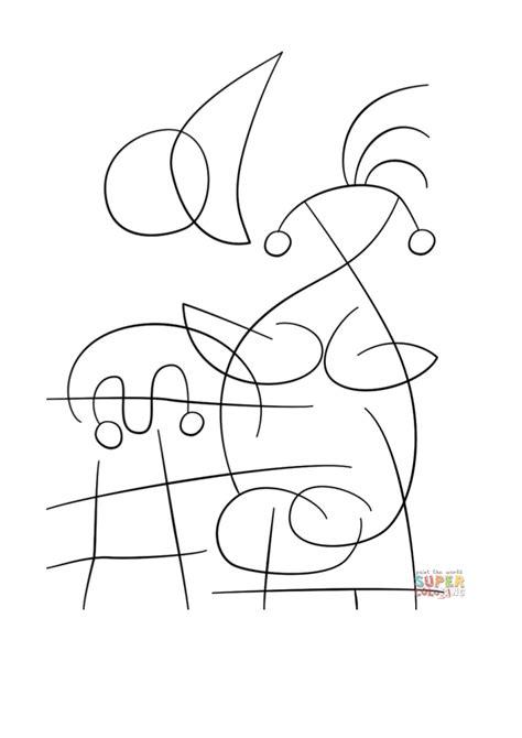 desenho de  sun embracing  lover  joan miro