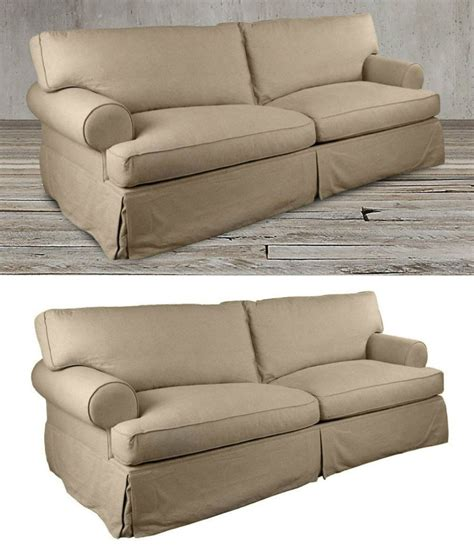 Contemporary Sofa Slipcover by This Modern Slipcovered Beige Sand Colored Slipcover
