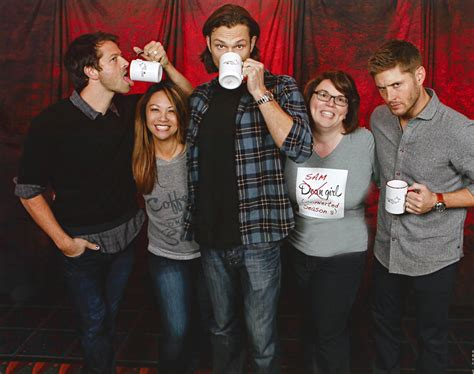 Supernatural BurCon Misha Jared Jensen photo op Sweatpants and Coffee mugs