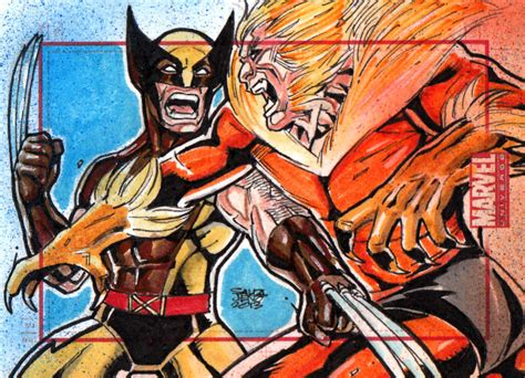 Wolverine Vs Sabretooth Marvel Universe Sketchcard By
