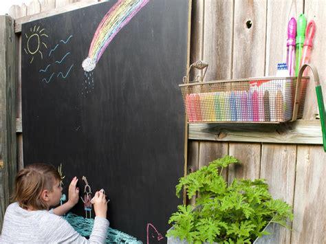 outdoor chalkboard activity wall  kids diy