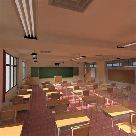 anime classroom  cgtrader