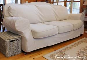 Carolina country living drop cloth sofa slipcover for Sofa slipcovers for leather furniture