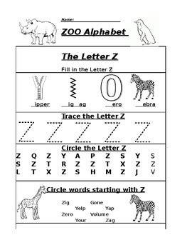 the letter z alphabet zoo worksheet by pointer education tpt