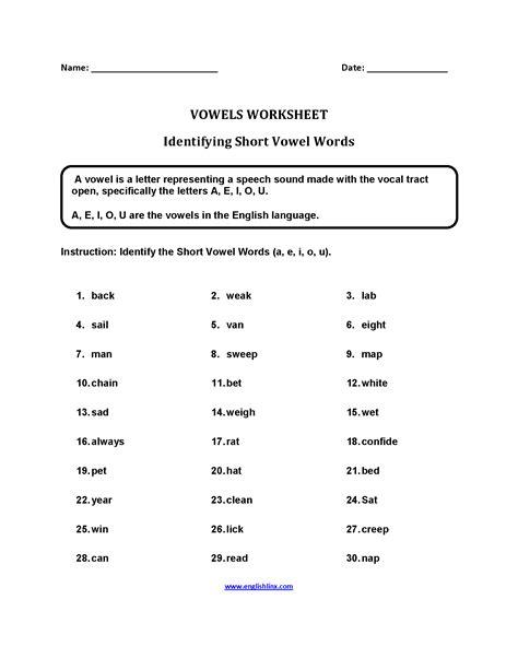 short vowel words worksheets and short vowel worksheets vowels vowel sounds