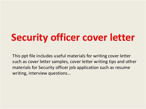 Cover Letter For Security Officer - Costumepartyrun