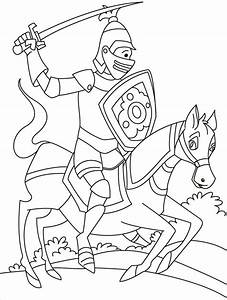 Free coloring pages of knights jousting