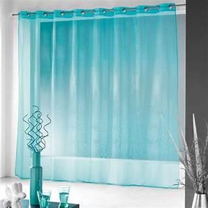 Voilage Bleu Turquoise : voilage oeillets l400 cm finette turquoise voilage eminza ~ Teatrodelosmanantiales.com Idées de Décoration