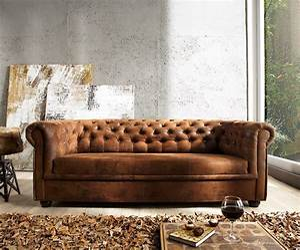 Couch Chesterfield Braun 200x92 Cm Antik Optik Abgesteppt