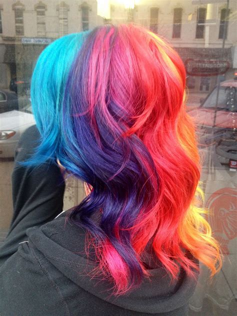 Red Hair Rainbow Orange Green Blue Pink Purple Long Yellow