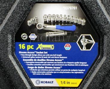 kobalt xtreme access 1 4 drive pass thru socket set sae
