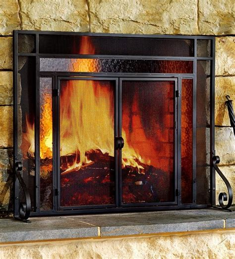 glass fireplace screen 2 door steel fireplace screen w tempered glass accents