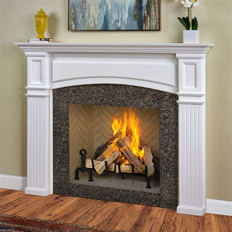 marble fireplace surround and wooden white mantel with lucite table and zebra monarch 54 in x 39 in wood fireplace mantel surround