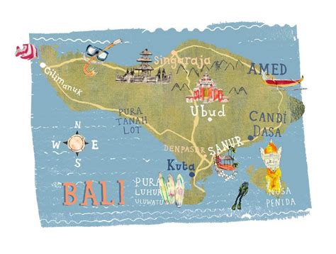 kate evans map  bali illustrated map  indonesia