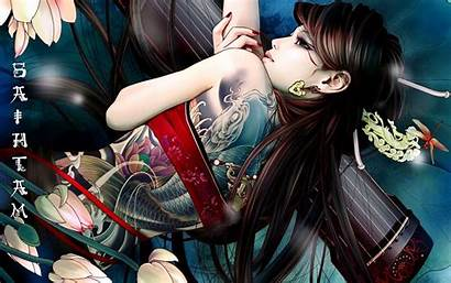 Asian Fantasy Tattoo Babes Oriental Females Wallpapers