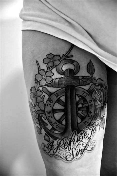 """Anchor with ship's wheel and latitudes - """"I refuse to sink"""" cliche is commonly associated with"""