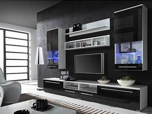 High gloss black fronts wall units kansas 4 furnish house for Modern set of living room furniture wall tv unit