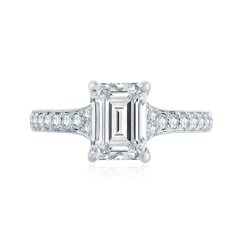 deco style emerald cut engagement ring engagement rings