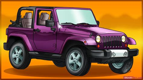 cartoon jeep front how to draw a jeep wrangler step by step suvs
