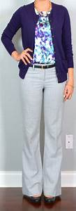 Outfit post purple floral camisole purple cardigan grey editor pants black wedges