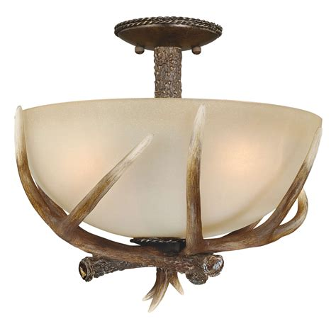 cast antler semi flush ceiling light 16 inch