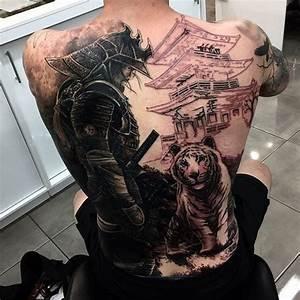 Black Ink Samurai With Tiger Tattoo On Man Full Back ...