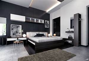 White black brown modern bedroom furniture interior for Contemporary black bedroom furniture