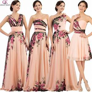 cheap mixed style grace karin chiffon flower print pleat With dresses for wedding party