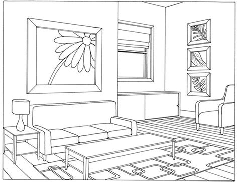 One Point Perspective Living Room Drawing : One Point Perspective Living Room Drawing