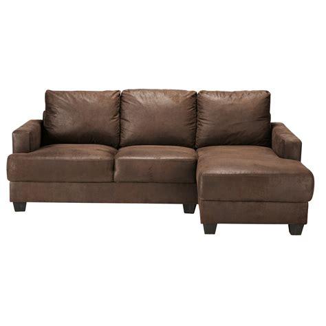 canape in canapé d 39 angle 3 4 places imitation cuir marron