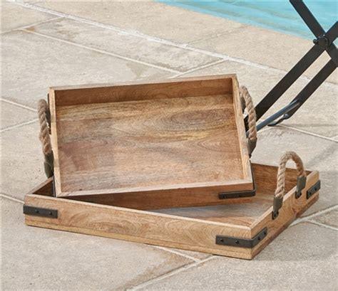 Rustic Serving Trays  Wooden Tray Set  Park Designs