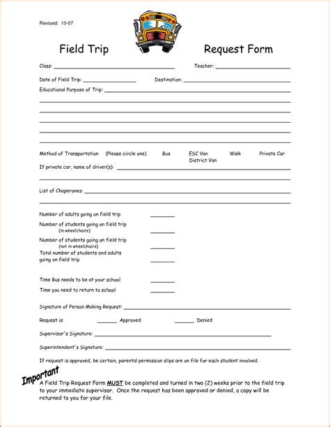 field trip form template authorizationlettersorg