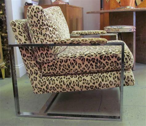 a 1970 s milo baughman leopard print and chrome lounge