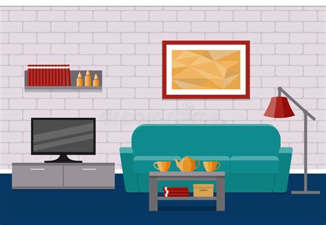 sofa room vector living room flat interior vector graphic stock vector