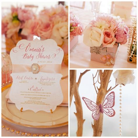 whimsical pink  gold baby shower pretty  party