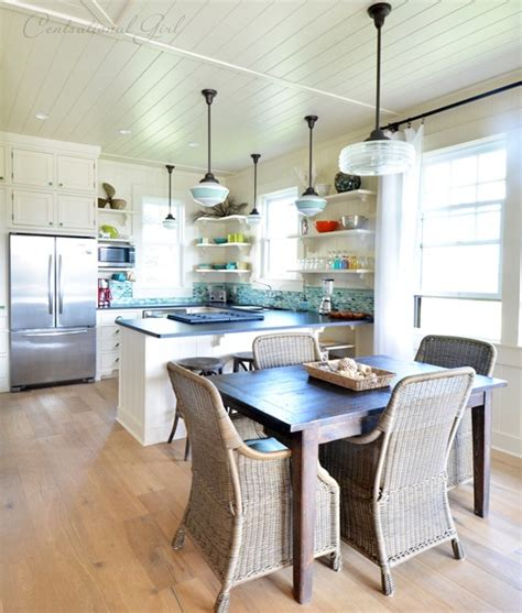 schoolhouse pendants grace kitchen of idyllic hawaiian
