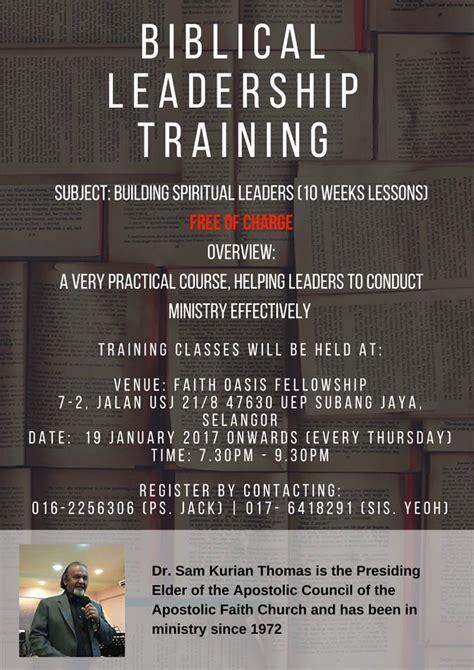 week biblical leadership training  starting