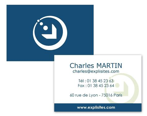 carte de visites exemple de carte de visites bleue